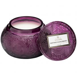 EMBOSSED GLASS CHAWAN BOWL CANDLE - SANTIAGO HUCKLEBERRY