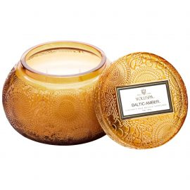 EMBOSSED GLASS CHAWAN BOWL CANDLE - BALTIC AMBER