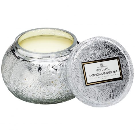 Embossed Glass Chawan Bowl Candle