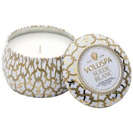 PETITE DECORATIVE TIN CANDLE - SUEDE BLANC